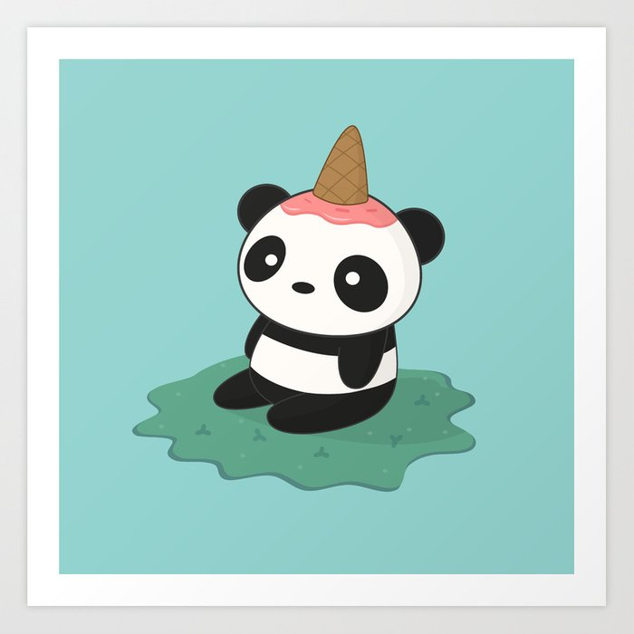 Kawaii Cute Panda Ice Cream Art Print