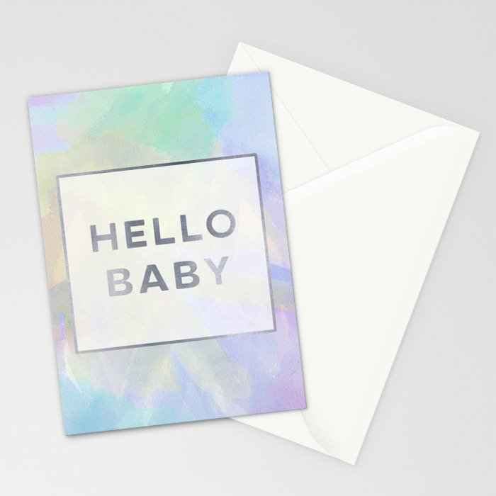 Hello Baby watercolor + typography Stationery Cards