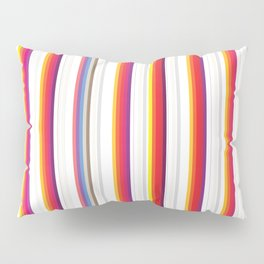 Colorful Stripes Barcode 80s Pillow Sham
