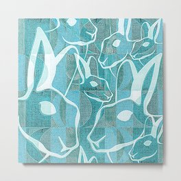 Midcentury Retro Rabbit Metal Print