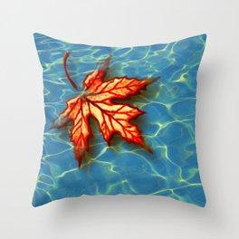 Wet Maple Leaf Throw Pillow