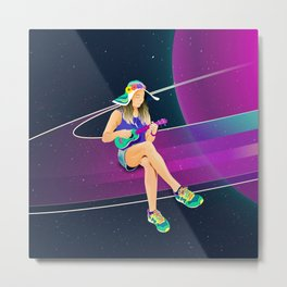 The girl from Saturn by #Bizzartino Metal Print