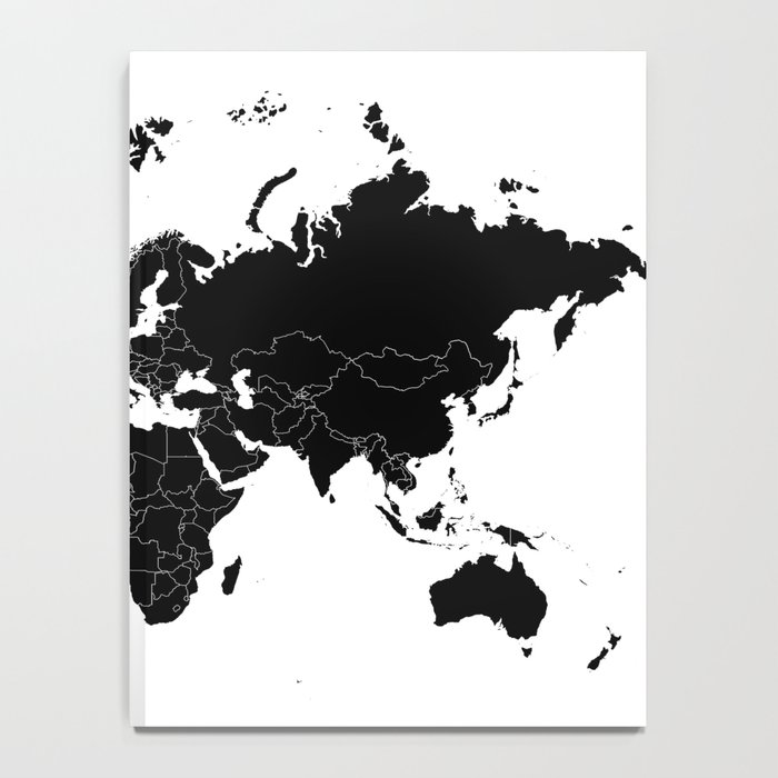 Minimalist world map black on white background notebook by minimalist world map black on white background notebook gumiabroncs Gallery