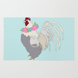 Floral Rooster Illustrated Print Spring Flowers Farm Chicken Rug