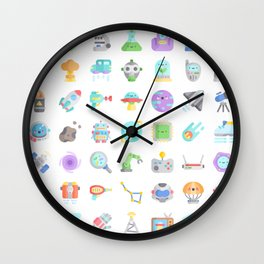 CUTE SCIENCE / SPACE / SCI-FI PATTERN Wall Clock