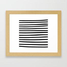 Black and White Hand Drawn Stripes Framed Art Print