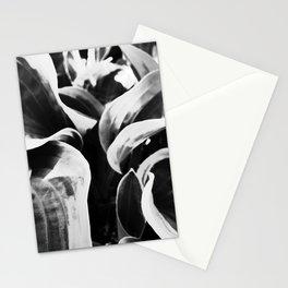 Black and White Hosta Leaves in I -Art Stationery Cards