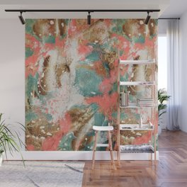 Modern Abstract Painting. Living Coral Pantone 2019 Wall Mural