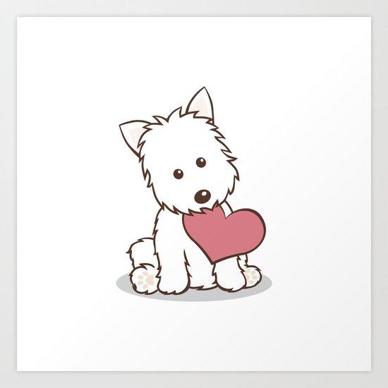 Westie Dog with Love Illustration Art Print