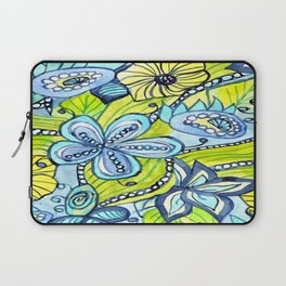 Turquoise, Yellow, and Green Floral Laptop Sleeve