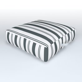 PPG Night Watch Pewter Green & White Wide & Narrow Vertical Lines Stripe Pattern Outdoor Floor Cushion