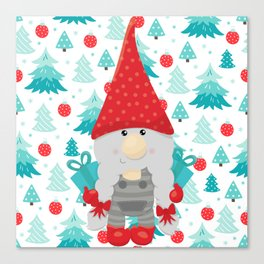 Holiday Gnome with gifts Canvas Print
