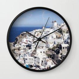 White, Blue, and Charming: Oia, Santorini Wall Clock