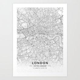 London, United Kingdom - Light Map Kunstdrucke