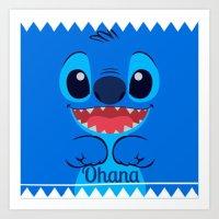 ohana Art Prints featuring Ohana. by S J A E