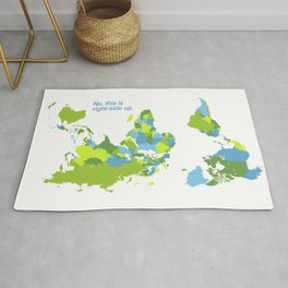 No, this is right-side up - World Map Upside-down Rug