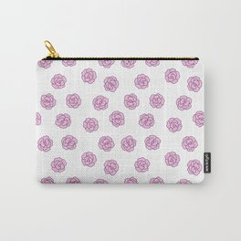 Girly pink white modern flowers illustration Carry-All Pouch