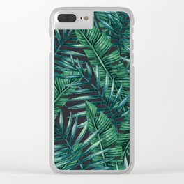 Palm and Banana Leaf Tropical Pattern Clear iPhone Case