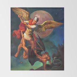 Saint Michael the Warrior Archangel Throw Blanket
