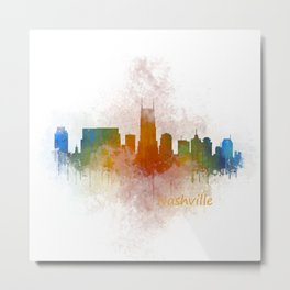Nashville city skyline Tennessee watercolor v4 Dak Metal Print