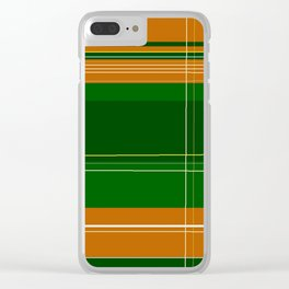 Green and Orange Plaid Clear iPhone Case