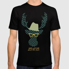 Deer Hipster MEDIUM Black Mens Fitted Tee