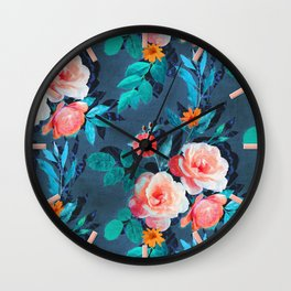 Retro Rose Chintz in Radiant Coral on Blue Wall Clock