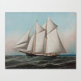 Vintage Schooner Sailboat Illustration (1887) Canvas Print