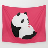 panda Wall Tapestries featuring Panda by Etiquette