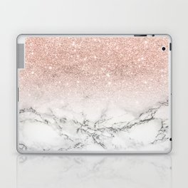 Modern faux rose pink glitter ombre white marble Laptop & iPad Skin