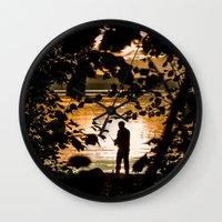 fishing Wall Clocks featuring Fishing by Svetlana Korneliuk