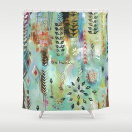 """Fly Free Between"" Original Painting by Flora Bowley Shower Curtain"