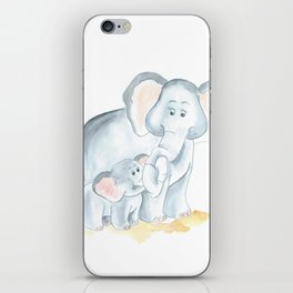 elephants watercolor painting, baby elephant with mom iPhone Skin