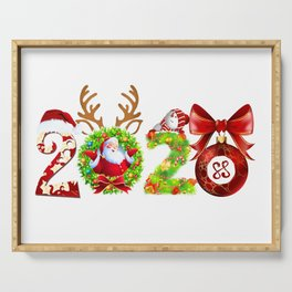 santa we good with 2020 merry christmas Serving Tray