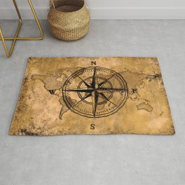 Destinations - Compass Rose and World Map Rug