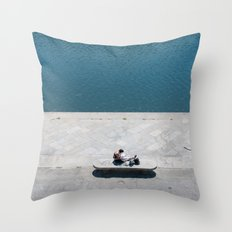 The reader and the river Throw Pillow