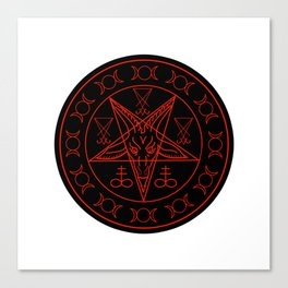 Wiccan symbols- Cross of Sulfur, Triple Goddess, Sigil of Baphomet and Lucifer Canvas Print