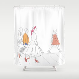 Parisian French Fashion Girls Shower Curtain