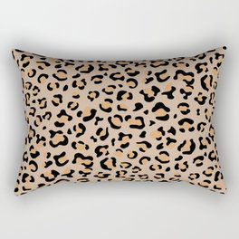 Animal Print, Spotted Leopard - Brown Black Rectangular Pillow