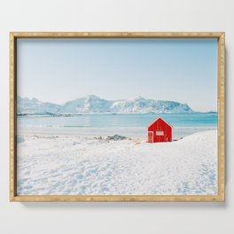 Red cabin on the beach with snow in the Lofoten Islands, Norway Serving Tray