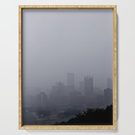 Foggy Pittsburgh Skyline Serving Tray