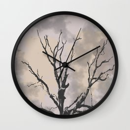Stormy Skies, Abstract Art Tree Storm Clouds Wall Clock