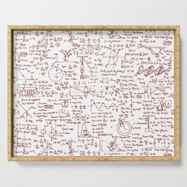 Physics Equations in Red Pen Serving Tray