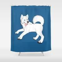 husky Shower Curtains featuring Husky (White) by Leslie Pierrot