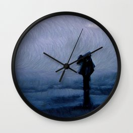 Silhouette in the fog Wall Clock