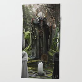 V. The Hierophant Tarot Card Illustration (Color) Beach Towel