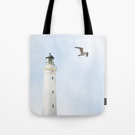 Lighthouse blue sky sea eagle summer Tote Bag