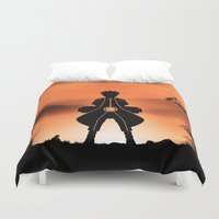 sasuke Duvet Covers featuring Naruto - Nine Tails Chakra Mode by Kesen