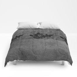 Pure elegance- Black floral luxury lace on dark grunge backround Comforters