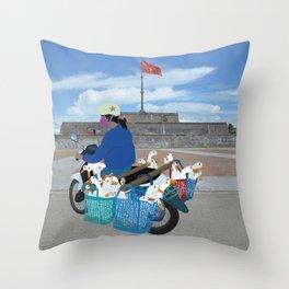 Transporting geese in Vietnam Throw Pillow